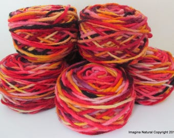 Limited Edition Handspun Hand dyed yarn Pure Bulky Chilean Wool Knitting Multicolour Araucania Chunky Skein red-orange-yellow 100g 3.5oz