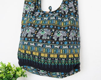 Thai Elephant Sling Shoulder Bag CrossBody Bag Messenger Bag Cotton Bag Hippie Boho Style Handmade Black