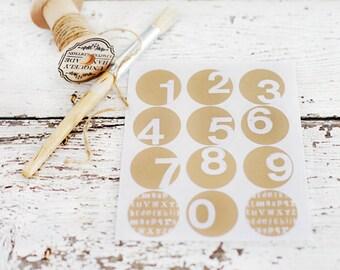 Number Stickers  - Set of 12, circle stickers, round sticker, envelope seals, packaging, advent calendar, birthdays, paper goods