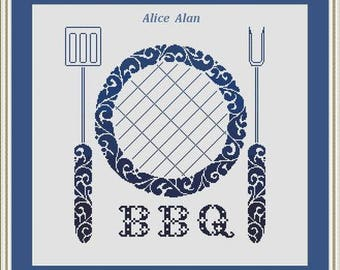 Cross Stitch Pattern Vintage Silhouette Barbecue Ornamental monochrome kitchen Counted Cross Stitch Pattern/Instant Download Epattern