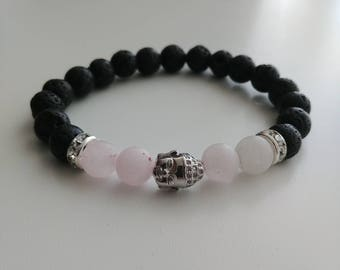 Silver Pave Buddha charm and spacers with matte rose quartz diffuser bracelet 8mm