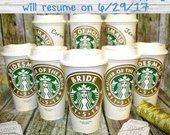 Bridesmaid Gift, Starbucks Coffee Cup Personalized & Name • Tumbler • Mug (Genuine Starbucks Cup, wedding photo props, bridesmaid gift idea)