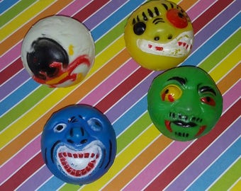 Vintage lot of 4 1980s Vending Machine Bootleg Madballs Toys