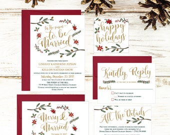 Christmas Wedding Invitation Template, Winter Rustic Printable Invite  Suite, Editable Text Instant Download DIY