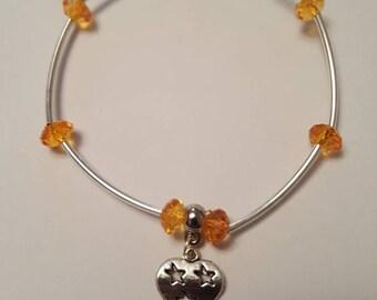Orange Love Heart Charm Bracelet
