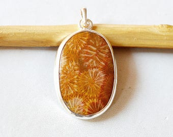 """Fossil Coral Pendant 10.5 Gm Natural Gemstone Silver Pendant Fossil Coral 925 Solid Silver Pendant Oval Shape  1.8""""x1.0"""" Inch RJ134"""