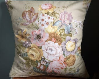 Large Vintage Sanderson stone floral fabric cushion