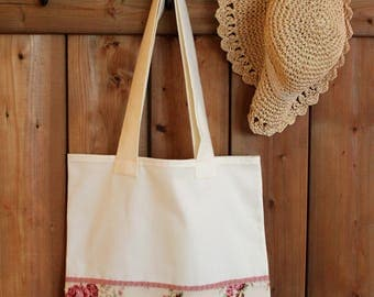 bag cotton flowers vintage tote bag