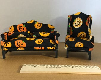Dollhouse furniture handmade Halloween camelback sofa and wing chair