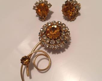 Vintage topaz rhinestone flower brooch with matching earrings