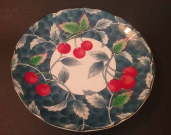 Set of 5 Japanese Dessert Plates with Cherry Design