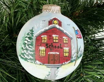 Teachers Ornament, Old School House, Winter, School House Ornament,Teachers Gift, Free Inscription, Flagpole, Treasured Gift