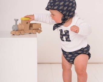 READY TO SHIP Handmade Liberty of London Winter Bonnet Baby Boys Hat Fleece lined Tana Lawn Message in a Bottle