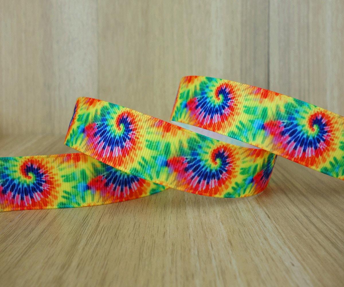 7 8 neon tie dye swirl pattern printed grosgrain ribbon