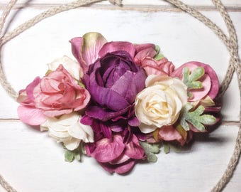 Toddler Flower Crown, Flower Girl Crown, Flower Crown Headband, Baby Flower Crown, Floral Crown, Baby Headband, Infant Headband, Photo Prop