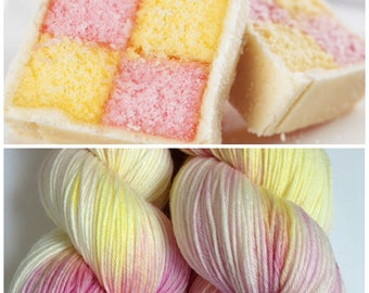 Battenberg. Hand Dyed Yarn.Hand Painted yarn. Super Soft Luxury 100% Merino wool 100g 400m (437yd). 4 ply. fingering weight.