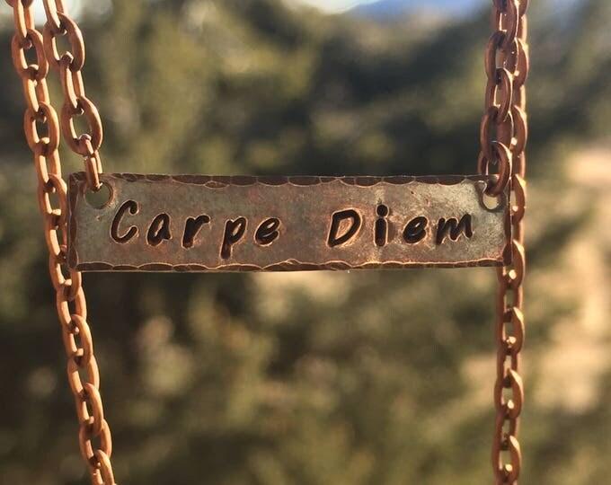 Copper Stamped Carpe Diem Necklace