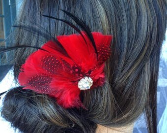 Wedding Hair Comb - Wedding Feather Hair Comb, Bridal Hair Comb, Feather Hair Comb, Feather Fascinator