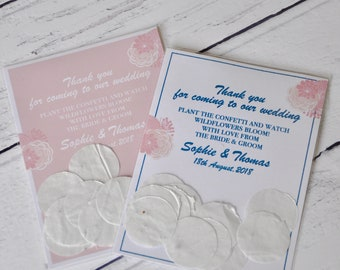 Wedding Favour / Seed Favours With Plantable Wildflower Seed Paper Confetti.  Blush Pink Or Blue Eco Friendly, Favour Bags