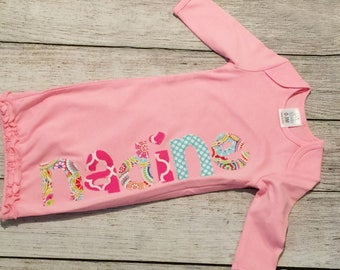 Newborn girl outfit,Girl Coming Home Outfit,newborn gown girl,name gown