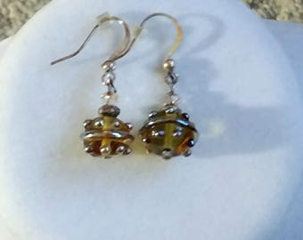 Brown Glass Bauble Earrings