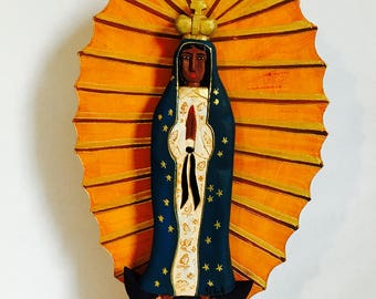 Virgen de  Guadalupe - Our Lady Guadalupe  Virgin Handmade and paint by Venezuelan artist. 14  Inches aprox