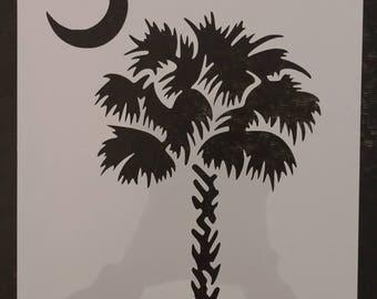 South Carolina Palmetto Moon Palm Tree Custom Stencil FAST FREE SHIPPING