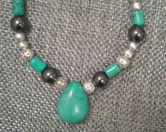 A bit of silver and magnesite turquoise.
