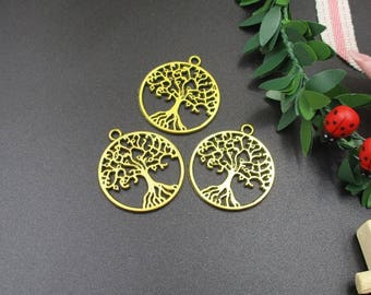 10PCS,25x29mm Golden Tree Charm ,Tree Pendant,Tree of Life,Craft Supplies-p1098