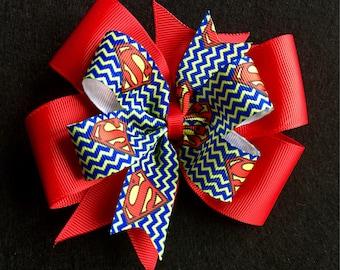 Superman Pinwheel Boutique Bow