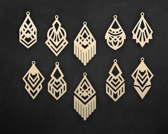 Faux leather geometric earrings Set, laser cut templates, Cutting File / SVG, DXF Cricut maker / Silhouette Cameo bijouterie design