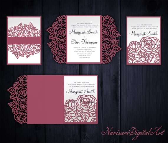 Roses set cricut wedding invitation template gate fold for Pocket wedding invitations cricut