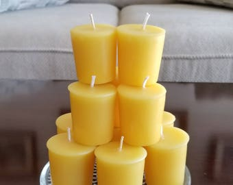 6 2 Oz Organic Yellow Beeswax Votive Candles Pure Votives Natural