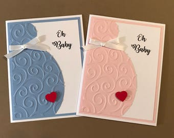 "Handmade ""Oh Baby"" Card, Baby Shower, New Baby, It's A Boy, It's A Girl"