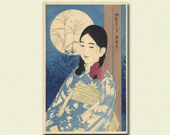 Get 1 Free Print - Autumn Full Moon 1931 - Ito Shinsui Print Ukiyo-e Poster Japanese Print Japanese Poster Gift Idea Shinsui Poster