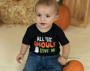 All the ghouls love me - Halloween shirt - boys Halloween shirt - Halloween humor shirt - Halloween boy