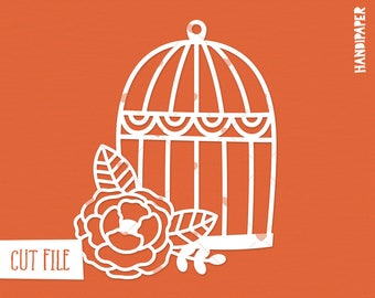 Bird cage with flower cut file (svg, dxf, png, eps) for use with Silhouette, Cricut, in paper crafting, scrapbooking projects, card making.