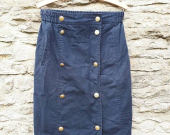 Navy Blue  Pencil Skirt Vintage