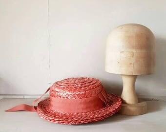 Peach Straw Boater Hat