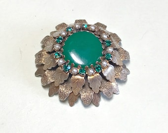 Dramatic vintage multilayer leaf brooch with green stones and faux seed pearls, missing one rhinestone green brooch, green leaf brooch 1960s