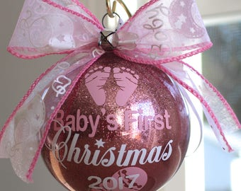 """Baby's First Christmas Ornament personalized with any year and baby's name. 4"""" Acrylic or Glass ornament made with Vinyl decals"""