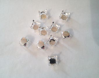 10 clutches for rhinestones or cabochons square 4 mm - 1 303