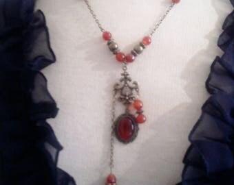 Necklace asymmetrical vintage fire agate
