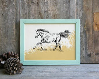 Horse print, Nature Printable Art, Horse Art, Woodland Animals, Horse Decor, Farmhouse Decor, Art & collectibles, Cabin Decor, Gift Under 10