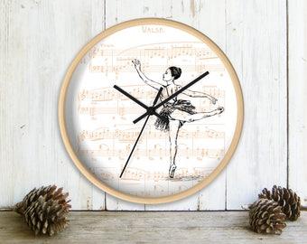 Wall Clock, Ballerina Wall clock, Ballet Wall Decor, Girls Room Decor, Pink Wall Clock, Dance Teacher Gift, Nursery Clock, Gift For Kids