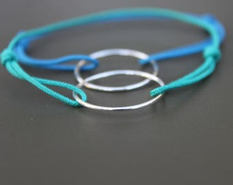 925 Silver ring and Royal Blue cord bracelet