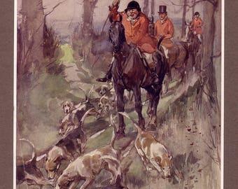 1909 horse hound hunting jorrocks print by george denholm armour