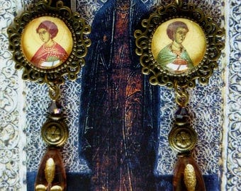 """Earrings """"Icon"""" religious style glass cabochon illustrated, bronze, Czech glass beads"""