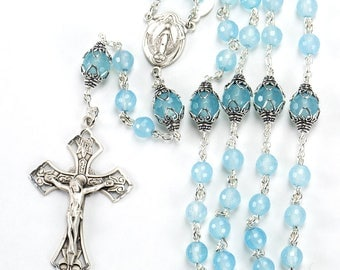 Delicate Catholic Rosary Handmade with Sea Blue Chalcedony Gift for Women - Miraculous Medal, Sterling Silver - Custom, Heirloom Rosaries