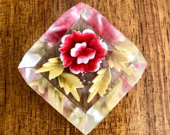 Vintage 1940's/1950's Reverse Carved Lucite Brooch Featuring Red Rose & Four Leaves.
